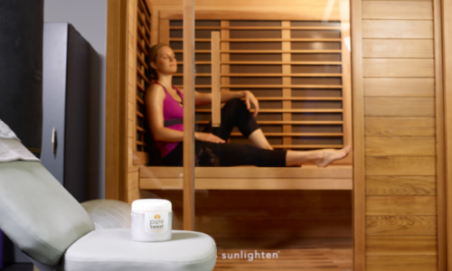 woman enjoying infrared sauna therapy in Greenville SC